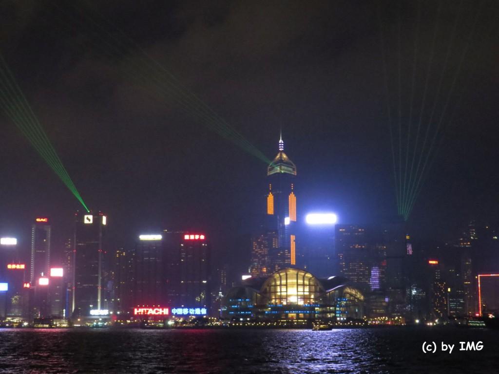 Lichtshow Hongkong Hafen Promenade