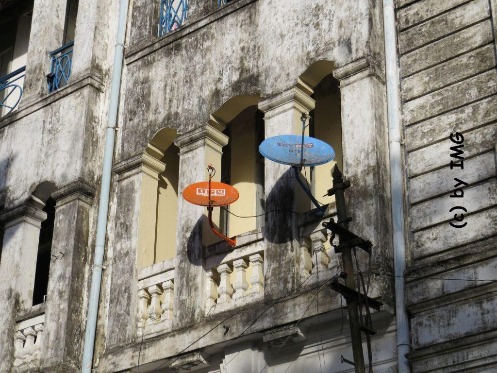 Yangon Kolonialstil Haus Satelitenschüssel