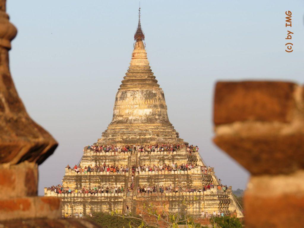 Sonnenuntergang Bagan Pagode Aussicht Myanmar Burma