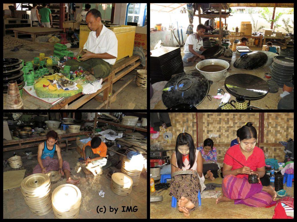 Werkstatt Lackarbeiten Herstellung Bagan Myanmar
